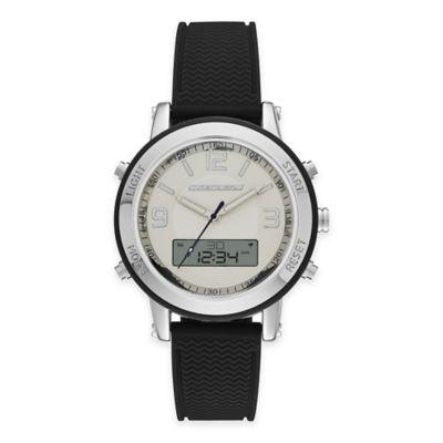 Skechers® Ladies' 38mm Analog-Digital Watch in Silver with Black Polyurethane Strap