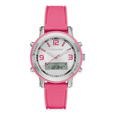 Skechers® Ladies' 38mm Analog-Digital Watch in Silver with Pink Polyurethane Strap