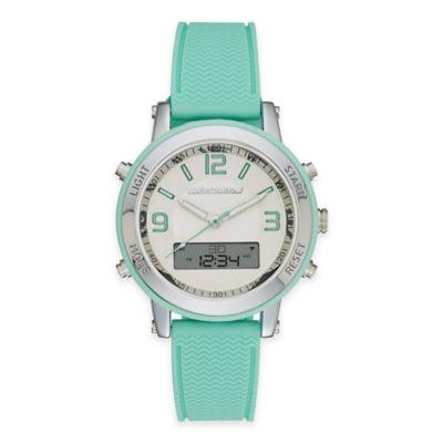 Skechers® Ladies' 38mm Analog-Digital Watch in Silver with Green Polyurethane Strap