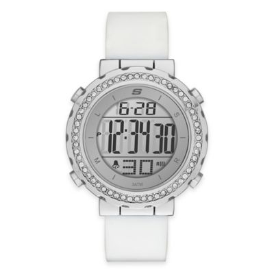 Skechers® Ladies' 40mm Crystal-Accented Bezel Digital Watch in Silver w/White Polyurethane Strap