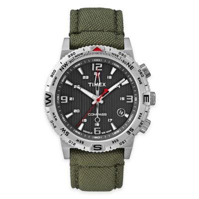 Timex® Intelligent Quartz® Men's Compass Watch in Stainless Steel with Green Nylon Strap