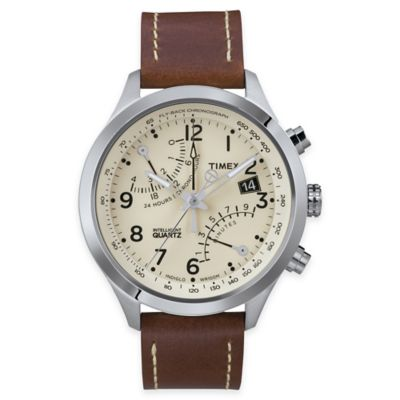 Timex® Intelligent Quartz® Men's Fly-Back Chronograph Watch in Stainless Steel w/Brown Strap