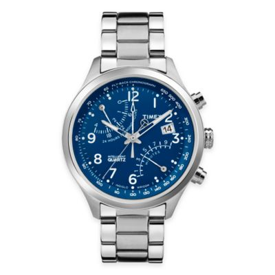 Timex® Intelligent Quartz® Men's Fly-Back Chronograph Analog Watch in Stainless Steel