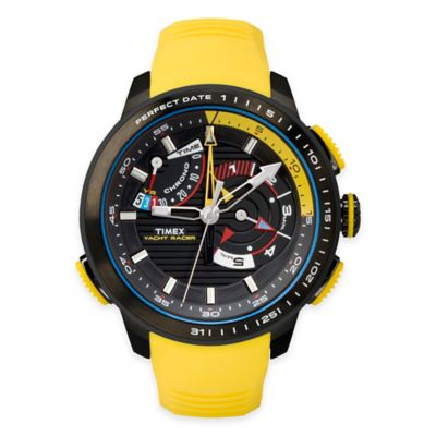 Timex® Intelligent Quartz® Men's Yacht Racer Watch in Black Stainless Steel w/ Silicone Band