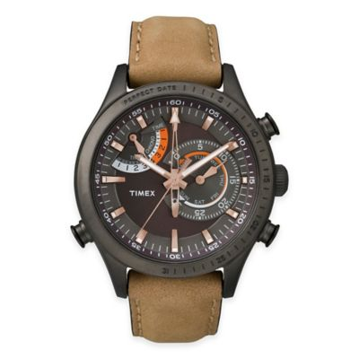 Timex® Intelligent Quartz® Men's Chrono Timer Watch in Black Ion-Plated Stainless Steel