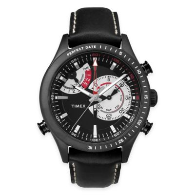 Timex® Intelligent Quartz® Men's Chrono Timer Watch in Black Stainless Steel