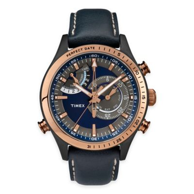 Timex® Intelligent Quartz® Men's Chrono-Timer Watch in Rose Goldtone Stainless Steel