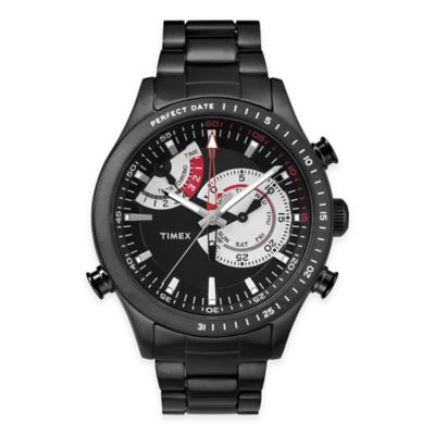 Timex® Intelligent Quartz® Men's Chrono Timer Bracelet Watch in Black Stainless Steel