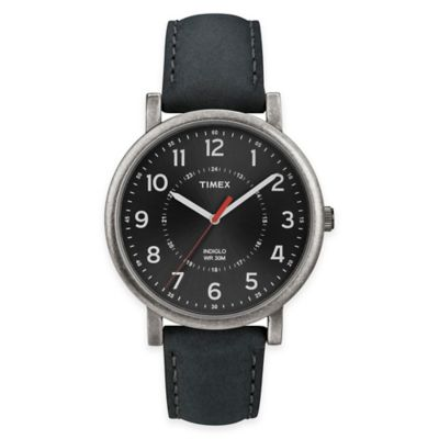 Timex® Originals Unisex 42mm Classic Round Dial Watch in Black with Black Leather Strap