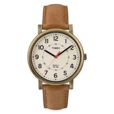 Cream with Tan Leather Strap