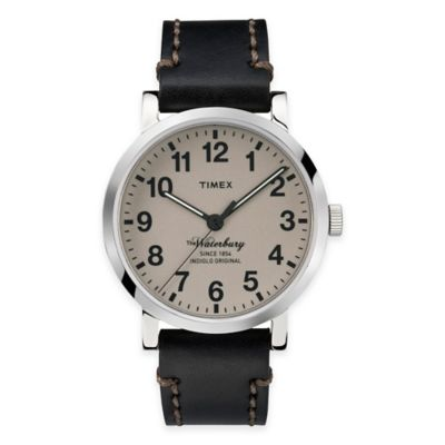 Timex® Heritage Collection Men's Waterbury Watch in Stainless Steel with Black Leather Strap