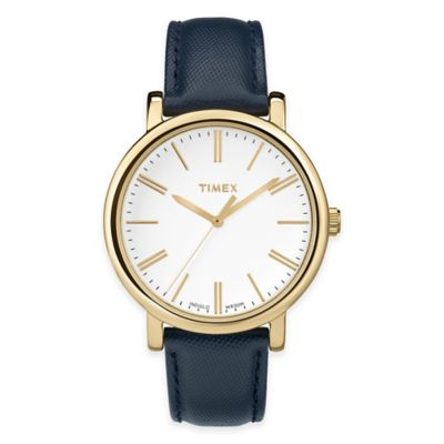 Timex® Modern Originals Ladies' Classic Round Watch in Gold-Tone Brass with Blue Leather Strap