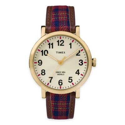 Gold-Tone Brass with Leather Strap Fashion Watches