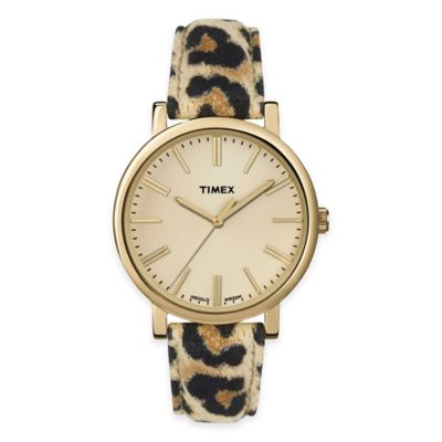 Timex® Originals Ladies' 38mm Animal Instincts Round Dial Watch in Champagne with Cheetah Strap