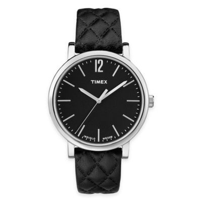 Timex® Originals Ladies' 38mm Matelassé Watch in Black with Black Quilted Leather Strap