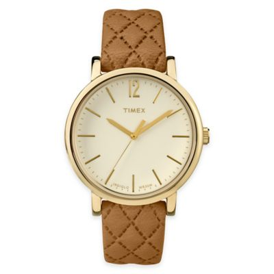 Timex® Originals Ladies' 38mm Matelassé Round Dial Watch in Cream with Tan Quilted Leather Strap
