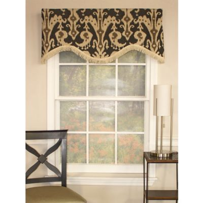 RL Fisher Ikat Shaped Window Valance in Graphite