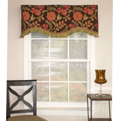 RL Fisher Rosa Ruffled Floral Cornice Valance in Chocolate
