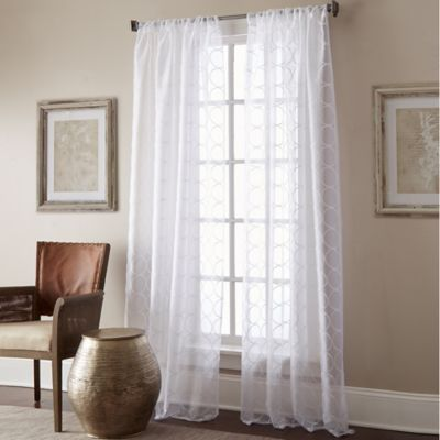 Manhattan Sheer 63-Inch Rod Pocket Window Curtain Panel in White