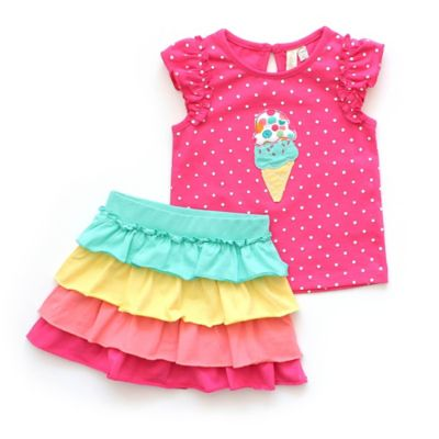 Planet Cotton® Size 3M 2-Piece Ice Cream Flutter Sleeve Top and Skirt Set in Fuchsia/Multicolor