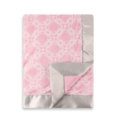 BabyVision® Hudson Baby® Damask Plush Satin Trim Blanket in Pink