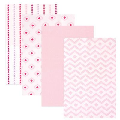 BabyVision® Hudson Baby® 4-Pack Flannel Receiving Blankets in Modern/Pink