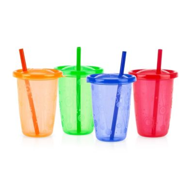 Nuby™ Wash or Toss™ 4-Pack 10 oz. Straw Cups in Multi