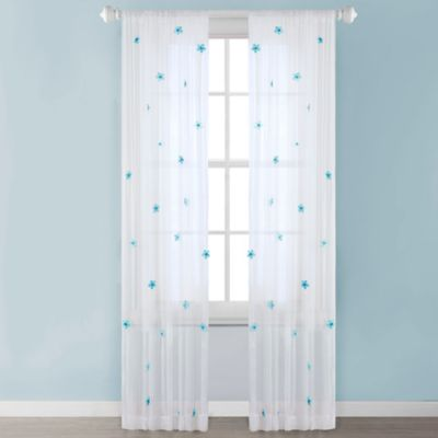 Mi Zone Kids Lilly 84-Inch Rod Pocket Sheer Window Curtain Panel in White/Blue