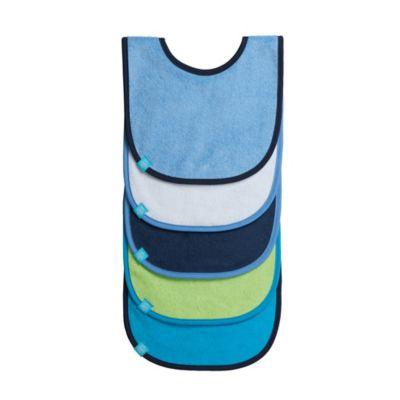 Lassig™ 5-Pack Bib Set in Solid Blue/Green