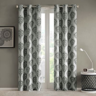 Intelligent Design Senna 63-Inch Grommet Top Window Curtain Panel Pair in Black