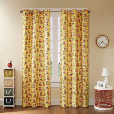 Mi Zone Kids Twyla 63-Inch Grommet Top Window Curtain Panel Pair in Yellow
