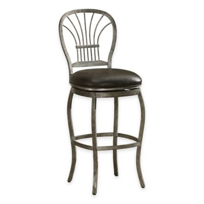 American Heritage Harper Counter Height Swivel Stool in Rustic Pewter