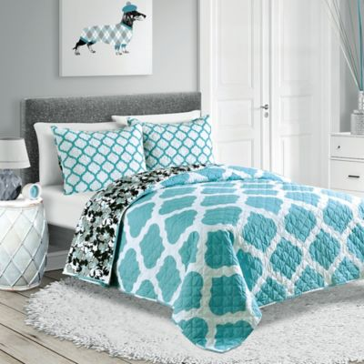 Pembrook Reversible Twin Quilt Set in Turquoise