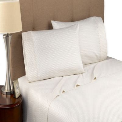 Modern Living Geo Cloud 300-Thread-Count Twin Sheet Set in Beige