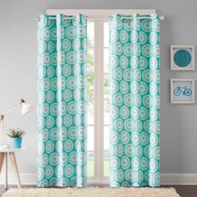 Intelligent Design Torino 63-Inch Grommet Top Window Curtain Panel Pair in Blue