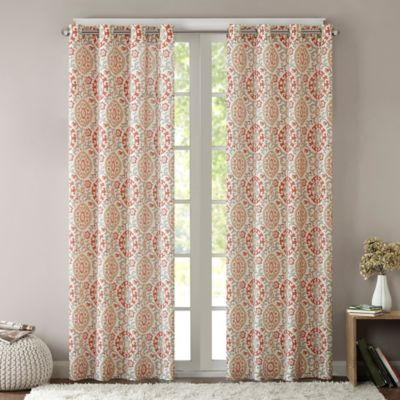 Intelligent Design Seville 63-Inch Grommet Top Window Curtain Panel in Coral
