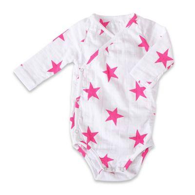aden + anais® Size 6-9M Shocking Pink Star Long Sleeve Muslin Kimono Bodysuit