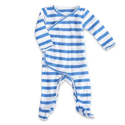 aden + anais® Size 0-3M Blazer Stripe Kimono Footie in Ultramarine /White