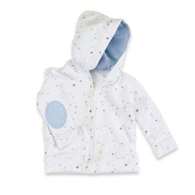 aden + anais® Size 3-6M Zip-Front Night Sky Starburst Jersey Hoodie in Blue/Grey