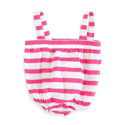 aden + anais® Size 9-12M Blazer Stripe Muslin Romper in Shocking Pink/White