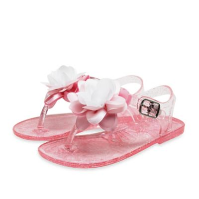 Stepping Stones Size 6-9M Flower T-Strap Jelly Sandal in Pink