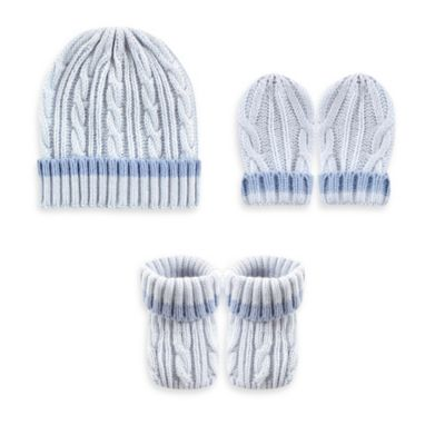 Baby Vision Luvable Friends 3-Piece Cable Knit Hat, Mittens, and Booties Set in Blue