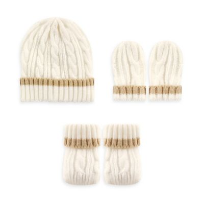 Baby Vision Luvable Friends 3-Piece Cable Knit Hat, Mittens, and Booties Set in Tan