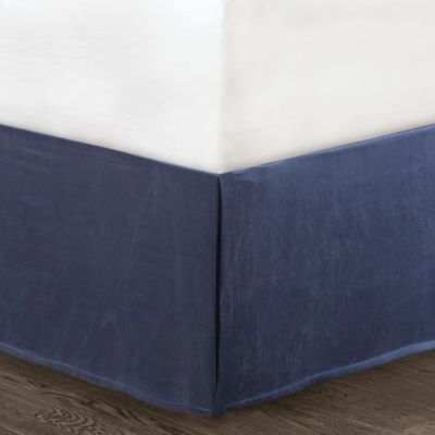 Natori Origami Mum Californian King Bed Skirt in Indigo