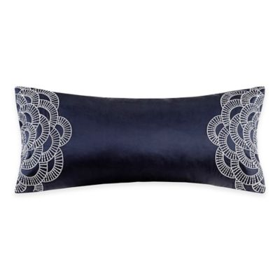 Natori Origami Mum Embroidered Oblong Throw Pillow in Indigo