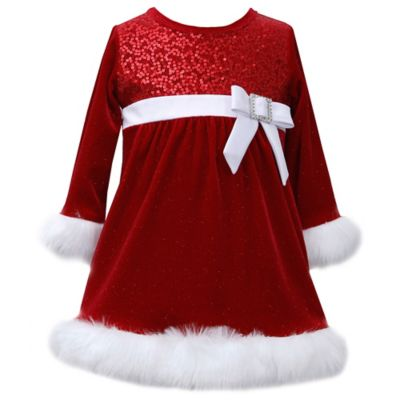 Bonnie Baby Size 12M Long Sleeve Sequin Santa Dress in Red