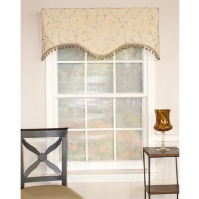 RL Fisher Bloom Shaped Valance in Cream/Mist Blue
