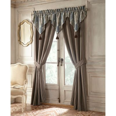 Waterford® Linens Hilliard Ascot Window Valance in Aquamarine/Chocolate