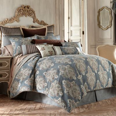 Waterford® Linens Hilliard Reversible Queen Comforter in Aquamarine/Chocolate