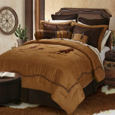 HiEnd Accents Team Roping Twin Comforter Set in Brown